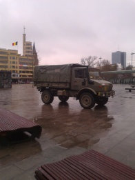 Army truck on place Flagey. Solution against terrorism.