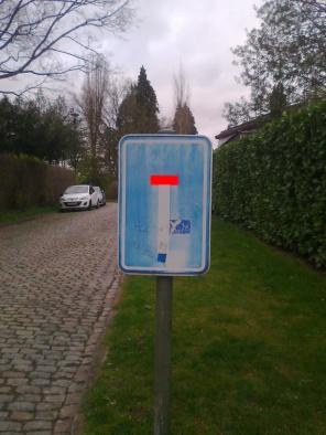 Dead end. Road sign got a second life?